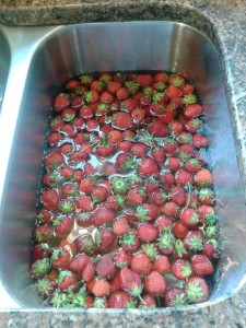 Wash Strawberries in a sink full of water with 1/2 cup vinegar